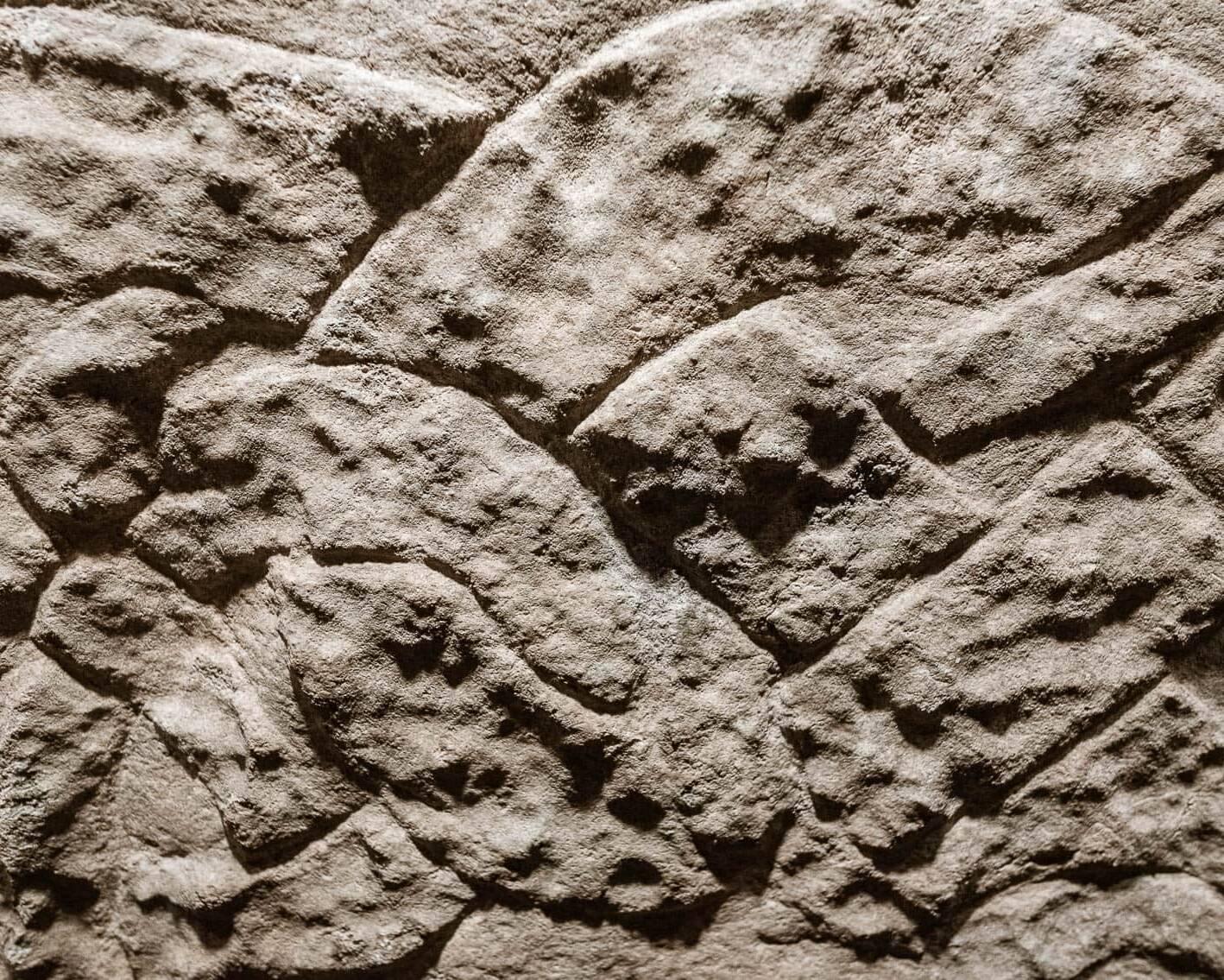 Detalj från gravhäll på Örberga Stenmuseum.