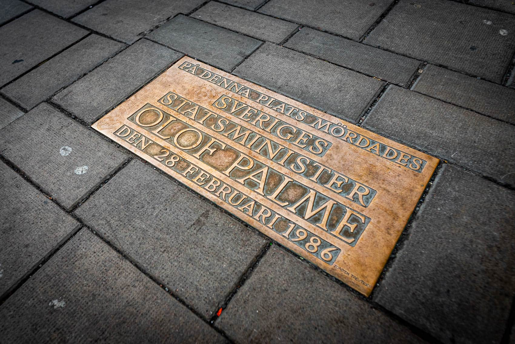 Olof Palmes Minnesplats på Sveavägen i Stockholm